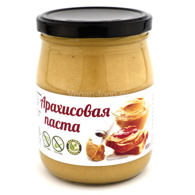 Арахисовая паста натуральная Vegan food, 500 г